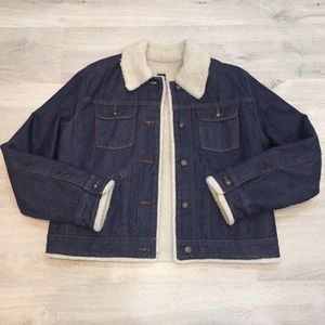Vintage Gap Denim Sherpa Jacket EUC Lined Size XL